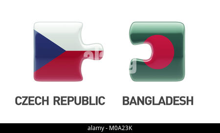 Bangladesh Czech Republic High Resolution Puzzle Concept - Stock Photo