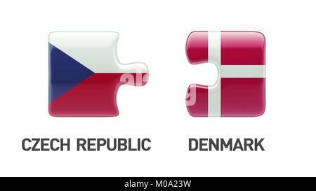 Denmark Czech Republic High Resolution Puzzle Concept - Stock Photo