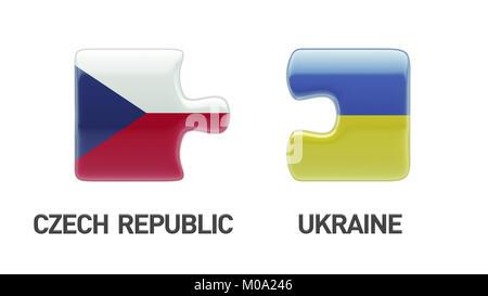 Ukraine Czech Republic High Resolution Puzzle Concept - Stock Photo