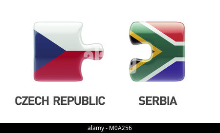 South Africa Czech Republic High Resolution Puzzle Concept - Stock Photo