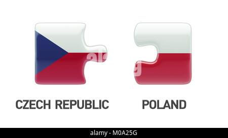 Poland Czech Republic High Resolution Puzzle Concept - Stock Photo