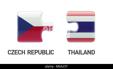 Thailand Czech Republic High Resolution Puzzle Concept - Stock Photo