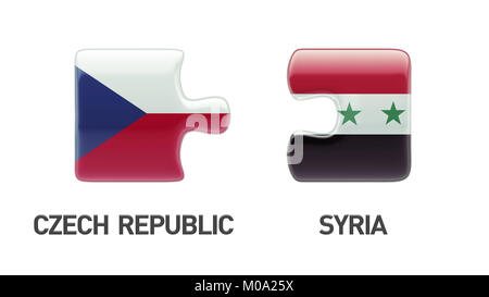 Syria Czech Republic High Resolution Puzzle Concept - Stock Photo