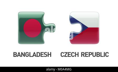 Bangladesh Czech Republic High Resolution Puzzle Concept - Stock Photo