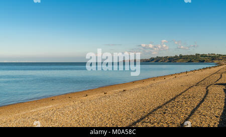 Beach and North Sea, seen from The Leas in Minster on Sea, Isle of Sheppey, Kent, England, UK