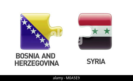 Syria Bosnia and Herzegovina High Resolution Puzzle Concept - Stock Photo
