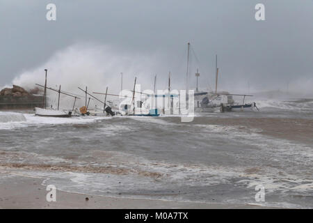 Storm during winter in mallorca - Stock Photo