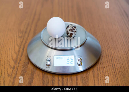 Chicken and quail eggs on scales - Stock Photo