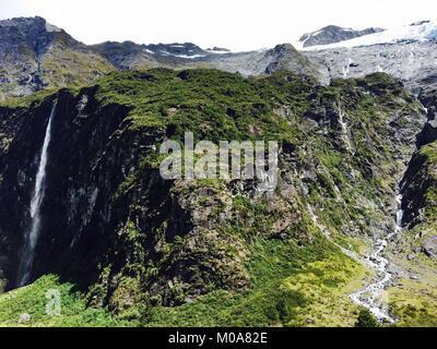 Rob Roy Glacier, Mount Aspiring National Park, New Zealand - Stock Photo