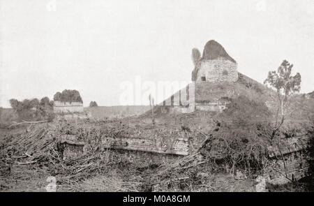 The 'El Caracol' observatory temple, Chichen Itza, Tinúm Municipality, Yucatán State, Mexico, seen here c. 1911 - Stock Photo