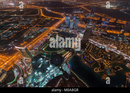View over the city from Burj Khalifa, Dubai, United Arab Emirates - Stock Photo