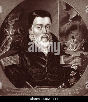 William Tyndale (1494 - 1536) was an English scholar and leading figure in the Protestant Reformation who, defying - Stock Photo