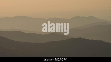rolling hills and mountains of the Blue Ridge Appalachian mountains in western North Carolina - Stock Photo