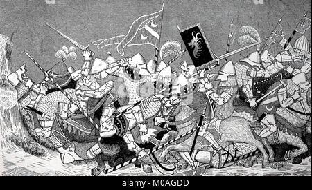Swiss Habsburg Wars, Battle of Sempach, Knights in the Fray, Miniature from 1385, in the Landesbibliothek zu Kassel, - Stock Photo