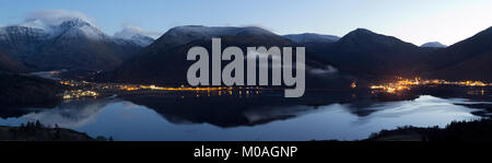Loch Leven and Glencoe panorama at dusk - Stock Photo