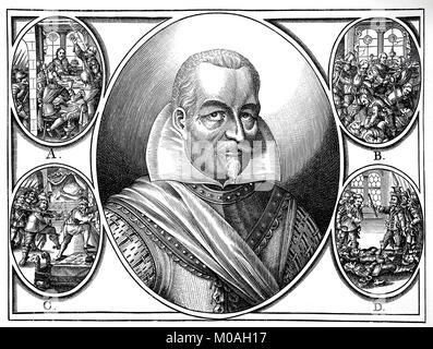 Portrait of Wallenstein, actually Albrecht Wenzel Eusebius von Waldstein, September 24, 1583 - February 25, 1634, - Stock Photo