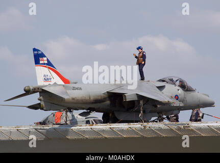 ZD406 a British Aerospace Harrier GR.7 on the deck of HMS Illustrious aircraft carrier. - Stock Photo