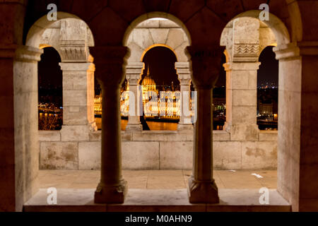 Hungarian Parliament from Fisherman's Bastion. I took this photo on the first night that I stayed in Budapest. The - Stock Photo