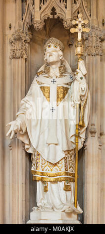 LONDON, GREAT BRITAIN - SEPTEMBER 18, 2017: The marble statue of St. Thomas of Canterbury in church Immaculate Conception, - Stock Photo