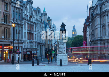 LONDON, GREAT BRITAIN - SEPTEMBER 18, 2017: The view from Trafalgar square at dusk. - Stock Photo