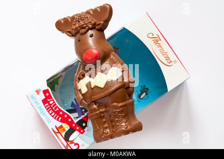 Thorntons Jolly reindeer chocolate removed from box on top packaging - ideal Christmas gift present - Stock Photo