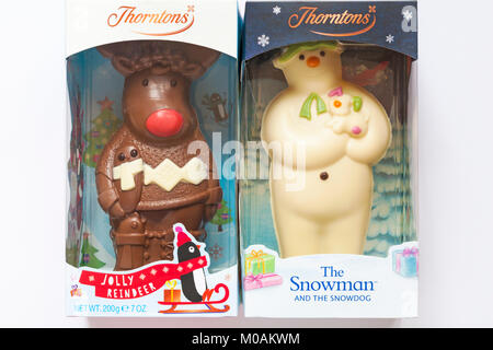 Thorntons The Snowman and the Snowdog chocolate & Thorntons Jolly reindeer chocolate in packaging - ideal Christmas - Stock Photo