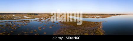 180 degree panorama of coastal estuary in South Carolina - Stock Photo