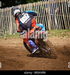 Harry Clark on the Jim Aim KTM 250 at the NGR & ACU Eastern EVO Championships, Cadders Hill, Lyng, Norfolk, UK. - Stock Photo