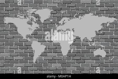 World map on a brick wall illustration brick wall texture stock black and white world map on a brick wall vector image brick wall texture gumiabroncs Gallery