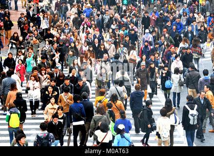 crowd crossing street, Shibuya , Tokyo,  Japan - Stock Photo