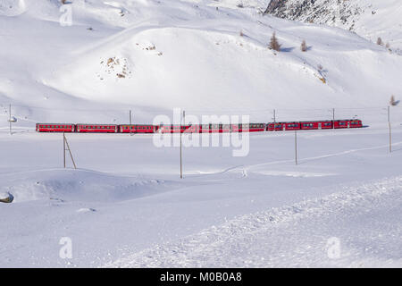 Famous Bernina red train walking through snow landscape between Italy and Suisse. - Stock Photo