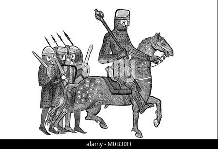 Knight with retinue, illustration from the year 1190, from the manuscript of the yearbooks of Genoa beginning in - Stock Photo