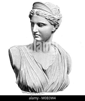 The antique marble statue of Artemis, Diana of Versailles, in Paris, France. Artemis was one of the most widely - Stock Photo