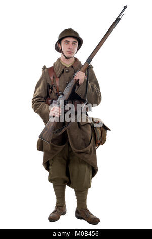 young french soldier 1940 isolated on the white background - Stock Photo