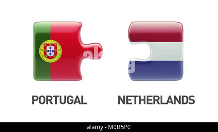 Portugal Netherlands High Resolution Puzzle Concept - Stock Photo