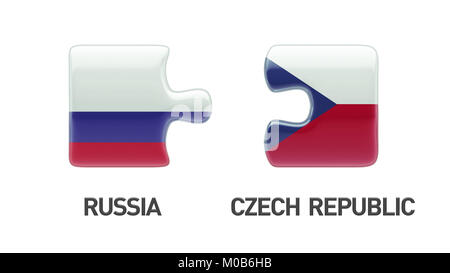 Russia Czech Republic High Resolution Puzzle Concept - Stock Photo