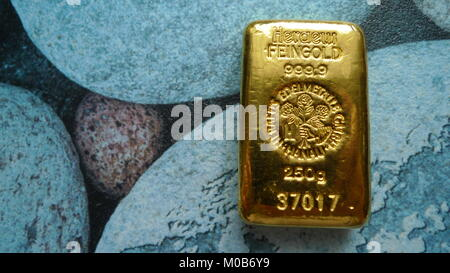 Bullion Gold 250 Gram Suisse Stock Photo