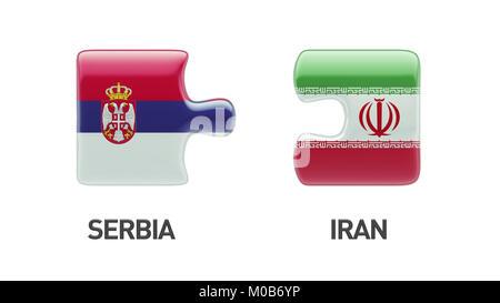 Serbia Iran High Resolution Puzzle Concept - Stock Photo