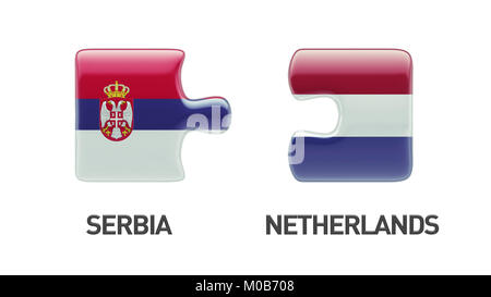 Serbia Netherlands High Resolution Puzzle Concept - Stock Photo
