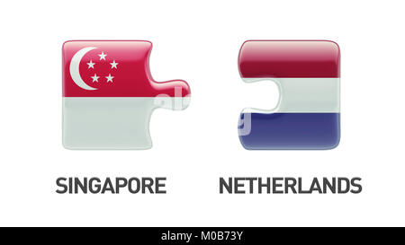 Singapore Netherlands High Resolution Puzzle Concept - Stock Photo