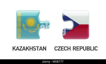 Kazakhstan Czech Republic High Resolution Puzzle Concept - Stock Photo