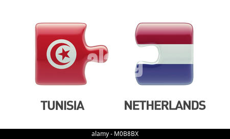 Tunisia Netherlands High Resolution Puzzle Concept - Stock Photo