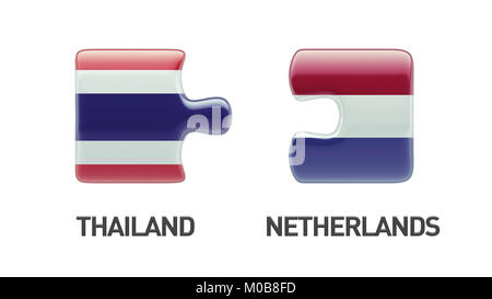 Thailand Netherlands High Resolution Puzzle Concept - Stock Photo