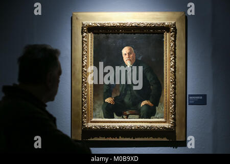 ZAGREB, CROATIA - 18th January, 2018 : Visitor looking at the painting Portrait of Ivan Vrankovic 1884 year at the - Stock Photo