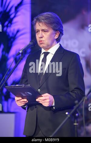 ZAGREB, CROATIA - 18th January, 2018 : Director of Klovicevi Dvori Gallery Antonio Picukaric holds the speech at - Stock Photo