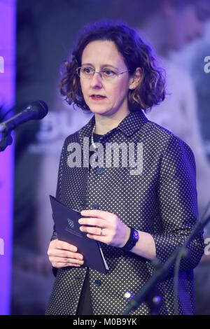 ZAGREB, CROATIA - 18th January, 2018 : Minister of Culture Nina Obuljen Korzinek holds the speech at the Cycle Vlaho - Stock Photo