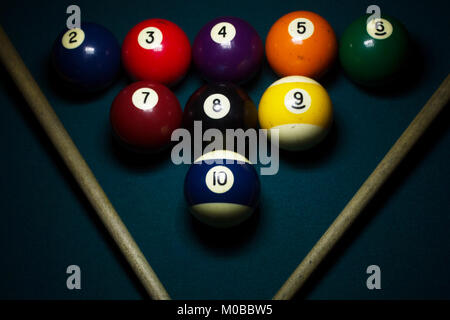 group of billiard balls arranged in triangle with cue sticks on a green billiard table - Stock Photo