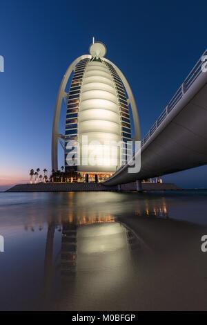 Burj Al Arab at Sunset - Stock Photo