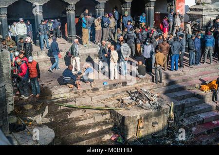 Pashupatinath Temple and Bagmati River in Kathmandu, Nepal - Stock Photo