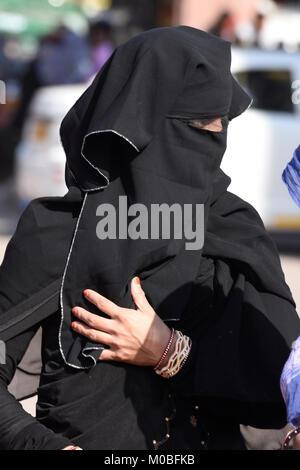 Woman in burqa, Jodhpur, Rajasthan, India - Stock Photo